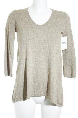 Massimo Dutti V-Ausschnitt-Pullover hellbraun meliert klassischer Stil