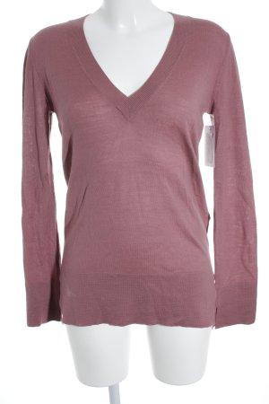 Massimo Dutti V-Ausschnitt-Pullover rosa Casual-Look