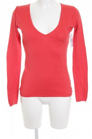 Massimo Dutti V-Ausschnitt-Pullover rot schlichter Stil