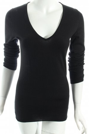 Massimo Dutti V-Ausschnitt-Pullover schwarz-hellbraun klassischer Stil