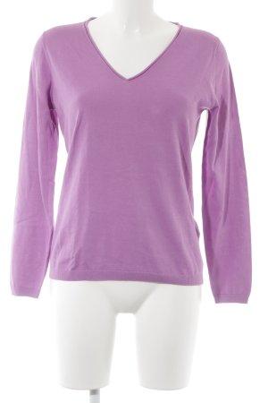 Massimo Dutti V-Ausschnitt-Pullover violett Casual-Look
