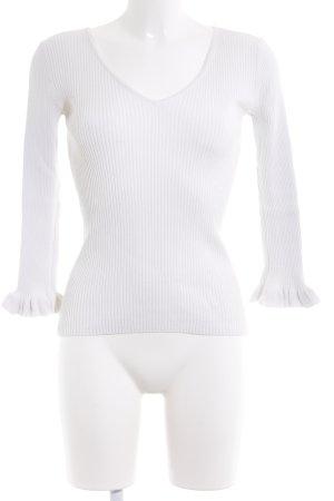 Massimo Dutti V-Ausschnitt-Pullover weiß Casual-Look