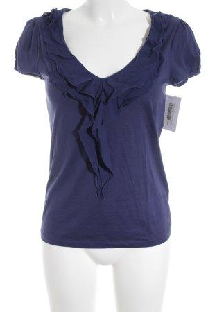 Massimo Dutti V-Ausschnitt-Shirt blau Romantik-Look