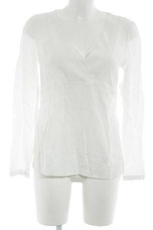 Massimo Dutti V-Ausschnitt-Shirt weiß Casual-Look