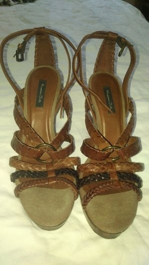 Massimo Dutti Wedge Sandals light brown-brown
