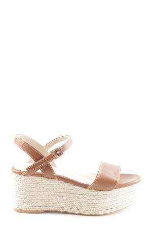Massimo Dutti Wedges Sandaletten braun-wollweiß Casual-Look
