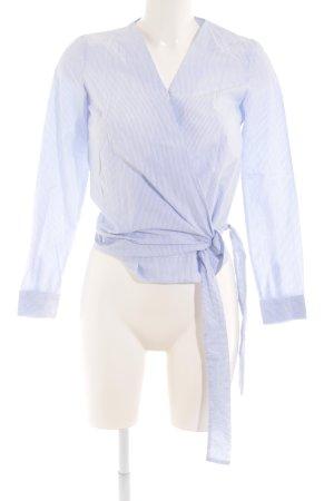 Massimo Dutti Wickel-Bluse weiß-himmelblau Streifenmuster Casual-Look