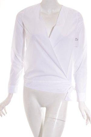 Massimo Dutti Wickel-Bluse weiß klassischer Stil