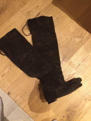 Massimo Dutti Kniehoge laarzen zwart bruin