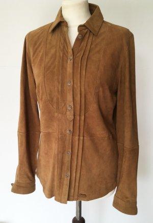 Massimo Dutti Leren shirt bruin Suede