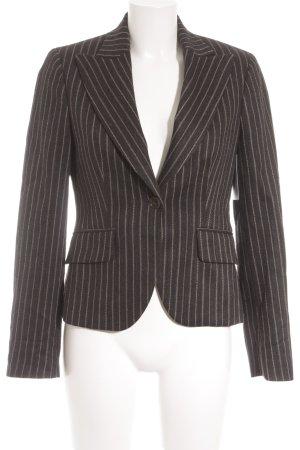 Massimo Dutti Woll-Blazer schwarz-beige Streifenmuster Business-Look