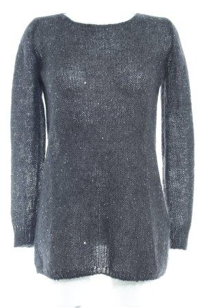 Massimo Dutti Pull en laine gris anthracite-noir style décontracté