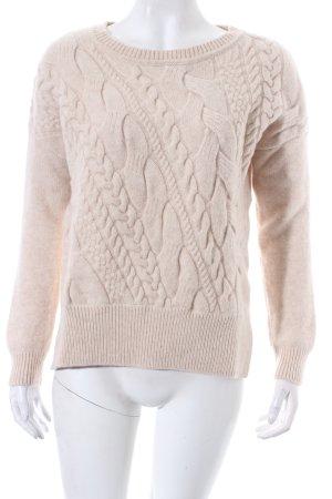 Massimo Dutti Wollpullover hellbeige Zopfmuster klassischer Stil