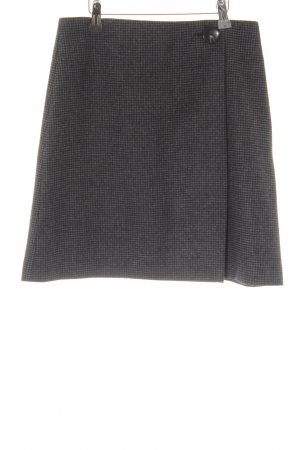 Massimo Dutti Wool Skirt dark grey-black Vichy check pattern wrap look