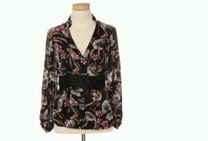 Massimo Dutti zauberhafte Bluse 100% Seide Floral Print Gr. 38 Wickeloptik Japan Style