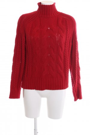 Massimo Dutti Cable Sweater red cable stitch casual look