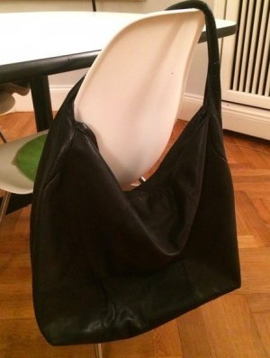 Massimo Dutti Pouch Bag black leather