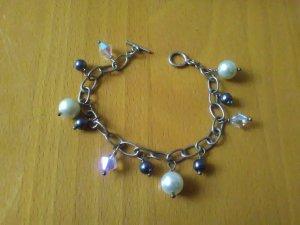 Massiv Echtsilber Armband mit Swarovski Kristall Steinen und Perlen