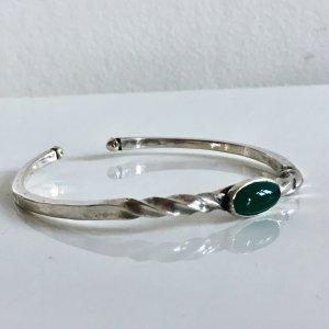 Massiv Silber Armreif Armspange 925 Silber Jade Cabochon Besatz grün Juwelierarbeit Meisterstück