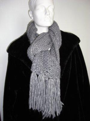 Crochet Scarf dark grey wool
