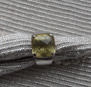 Silver Ring silver-colored-lime yellow real silver