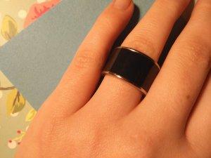 Massiver Ring, Emailliert, Dunkelblau / Silber