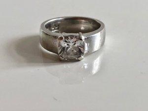Massiver schwerer 925 Silber Ring Brillant schliff Edelsteinbesatz