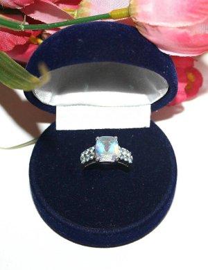 Massiver Silber Ring 925 Gr.17 Großer facettierter Stein, kleine Blaue Steine