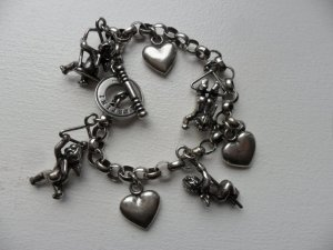 Charm Bracelet silver-colored-black real silver