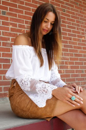 Matelli Cropped Shirt weiß florales Muster Boho-Look