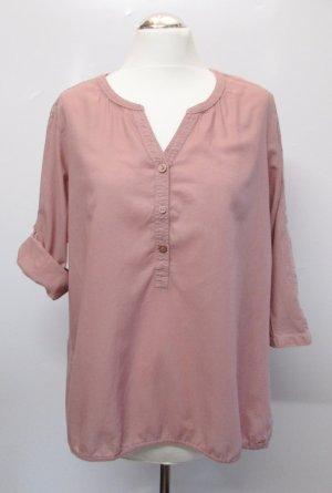Materialmix Bluse Tunika Cecil Feelme Größe L 42 Rose Altrosa Rosa Strukturstoff Streifen Punkte Karo V-Neck Shirt