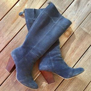 Botas con tacón azul Cuero