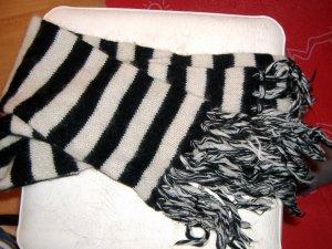 Matrosen weicher Strick Schal schwarz weiß gestreift
