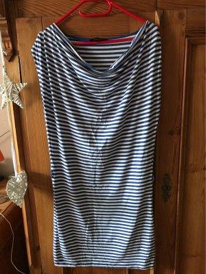 Amisu Vestido de tela de jersey blanco-azul
