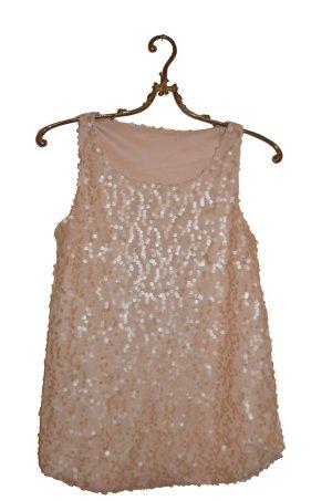 Mattes Pailletten Shirt altrosa/beige