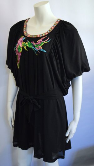 Matthew Williamson H&M Kleid Dress100% Silk Schwarz Papagei Vogel New