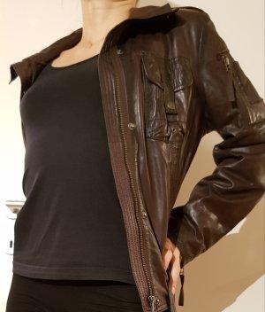 Mauritius Jacke aus Leder, braun, Gr. 38