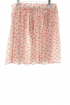 Mauro Grifoni Silk Skirt nude-red themed print casual look