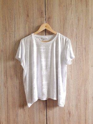 Mavi Glitzer Schimmer Shirt weiß silber Gr. L