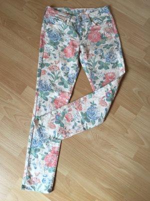 Mavi Hose Röhre Jeans Sophie S 36 38 W 27 L 30 Vanille Blumenmuster 7/8