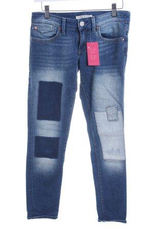 Mavi Jeans Co. Skinny Jeans stahlblau-dunkelblau Patchwork-Optik