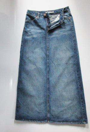 MAVI Jeans Maxi Rock XS 34 Model 818 Blau Denim Stiefelrock Schlitz Blogger Maviland Lagenlook Bleistiftrock