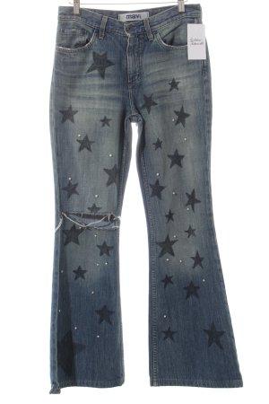 Mavi Jeansschlaghose graublau Motivdruck Destroy-Optik
