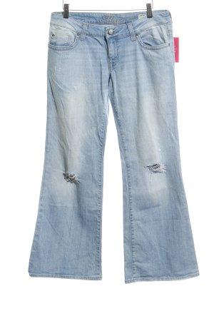 Mavi Jeans flare bleu azur style déchiré