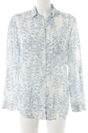 Mavi Langarm-Bluse weiß-hellblau florales Muster Casual-Look
