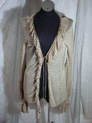 Chaqueta tipo blusa marrón arena-blanco puro tejido mezclado