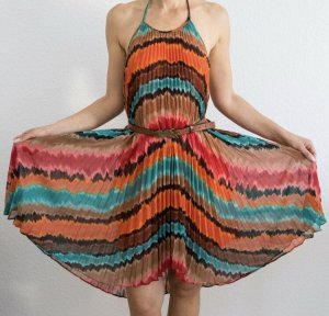 Max and Cleo Halter Dress multicolored