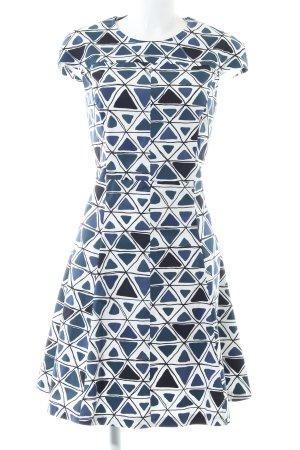 Max & Co. Robe trapèze blanc-bleu motif graphique élégant