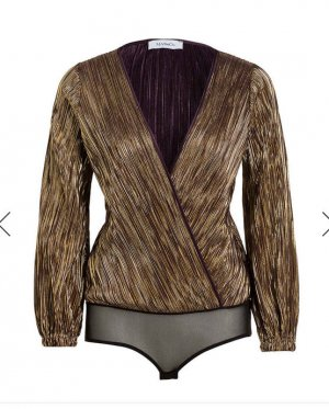 Max & Co. Bodysuit Blouse gold-colored synthetic fibre