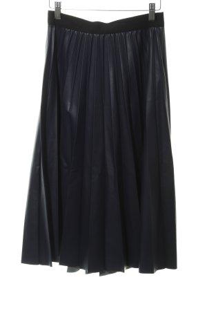 Max & Co. Falda de cuero de imitación azul oscuro-negro elegante